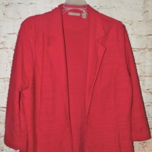 CHICO'S Open Front Red Jacket